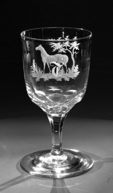 American. <em>Water Goblet</em>, ca. 1860. Engraved glass, 6 x 3 1/4 in. (15.2 x 8.3 cm). Brooklyn Museum, Gift of Alexander L. Thompson, 58.36.1. Creative Commons-BY (Photo: Brooklyn Museum, 58.36.1_view1_bw.jpg)