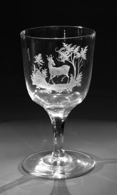 Brooklyn Flint Glass Company. <em>Water Goblet</em>, ca. 1860. Engraved glass, 6 x 3 1/4 in. (15.2 x 8.3 cm). Brooklyn Museum, Gift of Alexander L. Thompson, 58.36.2. Creative Commons-BY (Photo: Brooklyn Museum, 58.36.2_bw.jpg)