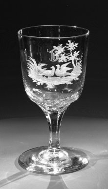 Brooklyn Flint Glass Company. <em>Water Goblet</em>, ca. 1860. Engraved glass, 6 x 3 1/4 in. (15.2 x 8.3 cm). Brooklyn Museum, Gift of Alexander L. Thompson, 58.36.3. Creative Commons-BY (Photo: Brooklyn Museum, 58.36.3_bw.jpg)