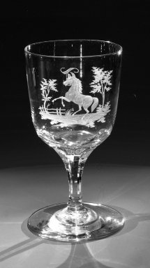 Brooklyn Flint Glass Company. <em>Water Goblet</em>, ca. 1860. Engraved glass, 6 x 3 1/4 in. (15.2 x 8.3 cm). Brooklyn Museum, Gift of Alexander L. Thompson, 58.36.4. Creative Commons-BY (Photo: Brooklyn Museum, 58.36.4_bw.jpg)