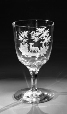 Brooklyn Flint Glass Company. <em>Water Goblet</em>, ca. 1860. Engraved glass, 6 x 3 1/4 in. (15.2 x 8.3 cm). Brooklyn Museum, Gift of Alexander L. Thompson, 58.36.5. Creative Commons-BY (Photo: Brooklyn Museum, 58.36.5_bw.jpg)