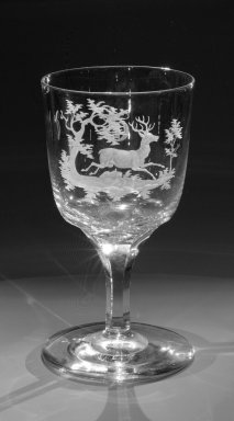 Brooklyn Flint Glass Company. <em>Water Goblet</em>, ca. 1860. Engraved glass, 6 x 3 1/4 in. (15.2 x 8.3 cm). Brooklyn Museum, Gift of Alexander L. Thompson, 58.36.6. Creative Commons-BY (Photo: Brooklyn Museum, 58.36.6_bw.jpg)
