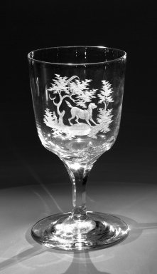 Brooklyn Flint Glass Company. <em>Water Goblet</em>, ca. 1860. Engraved glass, 6 x 3 1/4 in. (15.2 x 8.3 cm). Brooklyn Museum, Gift of Alexander L. Thompson, 58.36.7. Creative Commons-BY (Photo: Brooklyn Museum, 58.36.7_bw.jpg)