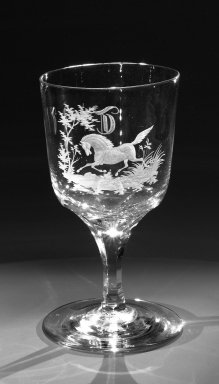 Brooklyn Flint Glass Company. <em>Water Goblet</em>, ca. 1860. Engraved glass, 6 x 3 1/4 in. (15.2 x 8.3 cm). Brooklyn Museum, Gift of Alexander L. Thompson, 58.36.8. Creative Commons-BY (Photo: Brooklyn Museum, 58.36.8_bw.jpg)