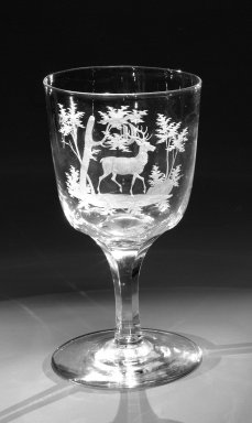 Brooklyn Flint Glass Company. <em>Water Goblet</em>, ca. 1860. Engraved glass, 6 x 3 1/4 in. (15.2 x 8.3 cm). Brooklyn Museum, Gift of Alexander L. Thompson, 58.36.9. Creative Commons-BY (Photo: Brooklyn Museum, 58.36.9_bw.jpg)