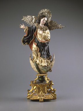 Unknown. <em>Virgin of Quito</em>, second half 18th century. Polychromed wood and silver, 25 1/2 x 13 x 6 3/4in. (64.8 x 33 x 17.1cm). Brooklyn Museum, Gift of Mrs. Giles Whiting, 58.37. Creative Commons-BY (Photo: Brooklyn Museum, 58.37_SL1.jpg)