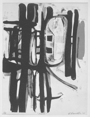 Edmond Casarella (American, 1920-1996). <em>Signal</em>, 1957. Paper relief cut, Image: 26 x 19 7/8 in. (66 x 50.5 cm). Brooklyn Museum, Dick S. Ramsay Fund, 58.42. © artist or artist's estate (Photo: Brooklyn Museum, 58.42_acetate_bw.jpg)