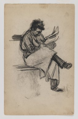 George Benjamin Luks (American, 1867-1933). <em>Recto: Man Reading; Verso: Young Girl</em>, n.d. Black conte crayon on beige, medium thick, slightly textured wove paper, Sheet: 7 7/16 x 4 3/4 in. (18.9 x 12.1 cm). Brooklyn Museum, Dick S. Ramsay Fund, 58.43.1a-b (Photo: Brooklyn Museum, 58.43.1a_IMLS_PS3.jpg)