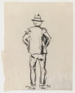 George Benjamin Luks (American, 1867-1933). <em>Figure of a Man - Back View</em>, n.d. Black Conté crayon on off-white, medium-weight, smooth wove paper, Sheet (irregular): 10 1/8 x 8 3/16 in. (25.7 x 20.8 cm). Brooklyn Museum, Dick S. Ramsay Fund, 58.43.3 (Photo: Brooklyn Museum, 58.43.3_IMLS_PS3.jpg)