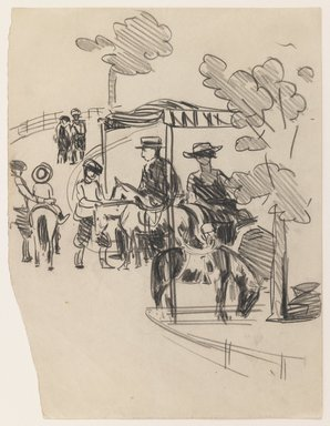 George Benjamin Luks (American, 1867-1933). <em>Pony Ride</em>, n.d. Black Conté crayon on beige, moderately thick, smooth wove paper, Sheet: 10 1/8 x 7 3/4 in. (25.7 x 19.7 cm). Brooklyn Museum, Dick S. Ramsay Fund, 58.43.5 (Photo: Brooklyn Museum, 58.43.5_IMLS_PS3.jpg)