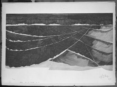 Henri-Georges Adam (French, 1904-1967). <em>Anse de La Torche, No. 12.</em>, 1957. Etching on heavy wove paper, 38 7/8 x 20 15/16 in. (98.8 x 53.2 cm). Brooklyn Museum, Museum Collection Fund, 58.62.1. © artist or artist's estate (Photo: Brooklyn Museum, 58.62.1_acetate_bw.jpg)