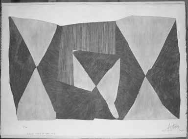Henri-Georges Adam (French, 1904-1967). <em>Sable Eau, No. 9.</em>, 1957. Etching on heavy wove paper, Plate: 38 3/16 x 23 5/8 in. (97 x 60 cm). Brooklyn Museum, Museum Collection Fund, 58.62.2. © artist or artist's estate (Photo: Brooklyn Museum, 58.62.2_acetate_bw.jpg)