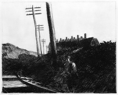 Edward Hopper (American, 1882-1967). <em>The Railroad</em>, 1922. Etching Brooklyn Museum, Dick S. Ramsay Fund, 58.9.4. © artist or artist's estate (Photo: Brooklyn Museum, 58.9.4_bw.jpg)