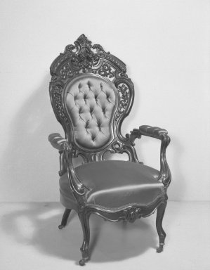 Joseph Meeks & Sons (1797-1868). <em>Armchair (Rococo Revival style)</em>, ca. 1860. Rosewood veneer, bentwood, modern upholstery (reupholstered April 1960), 48 x 28 x 24 1/2 in. (121.9 x 71.1 x 62.2 cm). Brooklyn Museum, Gift of Mrs. Alfred Zoebisch, 59.143.26c. Creative Commons-BY (Photo: Brooklyn Museum, 59.143.26c_acetate_bw.jpg)