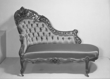 Joseph Meeks & Sons (1797-1868). <em>Chaise Longue (Rococo Revival style)</em>, ca. 1860. Rosewood veneer, bentwood, modern upholstery (reupholstered April 1960), 44 1/2 x 22 1/4 x 58 in. (113 x 56.5 x 147.3 cm). Brooklyn Museum, Gift of Mrs. Alfred Zoebisch, 59.143.26d. Creative Commons-BY (Photo: Brooklyn Museum, 59.143.26d_acetate_bw.jpg)
