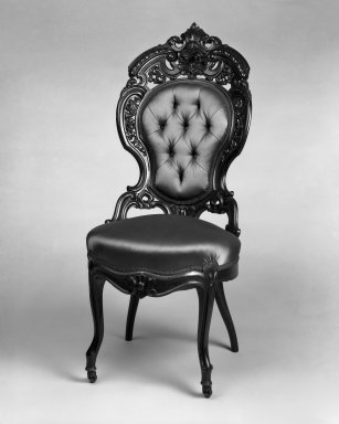 Attributed to Joseph Meeks & Sons (1797-1868). <em>Side chair (one of a set of three) (Rococo Revival style)</em>, ca. 1860. Rosewood veneer, bentwood, modern upholstery (reupholstered April 1960), 43 1/4 x 18 3/4 x 28 3/4 in. (109.9 x 47.6 x 73 cm). Brooklyn Museum, Gift of Mrs. Alfred Zoebisch, 59.143.26f. Creative Commons-BY (Photo: Brooklyn Museum, 59.143.26f_bw_IMLS.jpg)