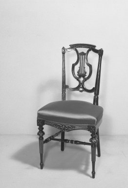 American. <em>Side Chair</em>, ca. 1870. Wood, H: 35 in. (88.9 cm). Brooklyn Museum, Gift of Mrs. Alfred Zoebisch, 59.143.28. Creative Commons-BY (Photo: Brooklyn Museum, 59.143.28_acetate_bw.jpg)