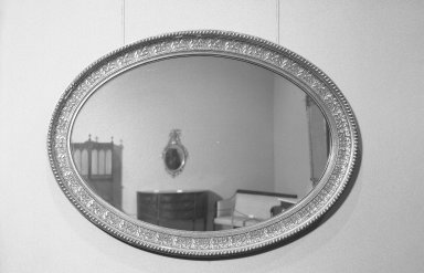 American. <em>Mirror</em>, ca.1870. Wood, gesso, gilt, 48 × 37 1/4 × 3 in. (121.9 × 94.6 × 7.6 cm). Brooklyn Museum, Gift of Mrs. Alfred Zoebisch, 59.143.30. Creative Commons-BY (Photo: Brooklyn Museum, 59.143.30_acetate_bw.jpg)