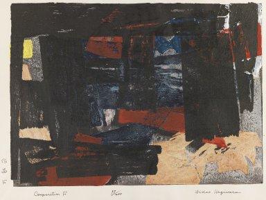 Hagiwara Hideo (Japanese, 1913-2007). <em>Composition F</em>, 1958. Woodcut in color, 11 x 15 3/16 in. (28 x 38.5 cm). Brooklyn Museum, Dick S. Ramsay Fund, 59.183.1. © artist or artist's estate (Photo: Brooklyn Museum, 59.183.1_IMLS_PS4.jpg)