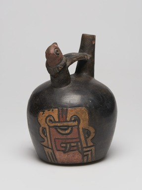Paracas. <em>Double Spout Bridge Vessel with Incised Chavin imagery</em>, 600 BCE - 500 BCE. Ceramic, polychrome slip, 6 1/2 × 4 5/8 × 4 5/8 in. (16.5 × 11.7 × 11.7 cm). Brooklyn Museum, Frank L. Babbott Fund, 59.197.1. Creative Commons-BY (Photo: , 59.197.1_view01_PS11.jpg)