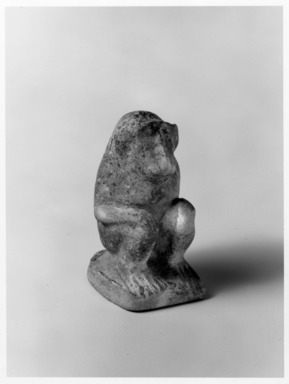 <em>Baboon</em>, ca. 1938-1700 B.C.E. Faience, 2 1/2 x 1 1/2 x 1 3/4 in. (6.4 x 3.8 x 4.4 cm). Brooklyn Museum, Charles Edwin Wilbour Fund, 59.199.3. Creative Commons-BY (Photo: , 59.199.3_print_bw_SL5.jpg)