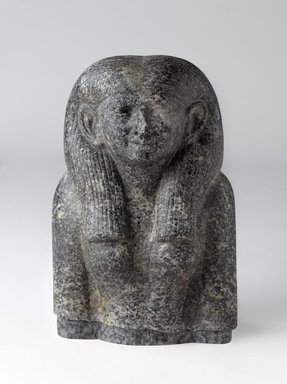 <em>Head and Torso of a Noblewoman</em>, ca. 1844-1837 B.C.E. Diorite, 9 x 6 1/4 x 4 1/2 in. (22.9 x 15.9 x 11.4 cm). Brooklyn Museum, Charles Edwin Wilbour Fund, 59.1. Creative Commons-BY (Photo: Brooklyn Museum, 59.1_front_PS9.jpg)