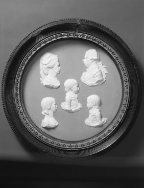 Josiah Wedgwood & Sons Ltd. (founded 1759). <em>Circular Portrait Plaque</em>, ca.1787. White on blue jasperware (Stoneare), 8 3/8 in. (21.3 cm). Brooklyn Museum, Gift of Emily Winthrop Miles, 59.202.15. Creative Commons-BY (Photo: Brooklyn Museum, 59.202.15_view1_acetate_bw.jpg)