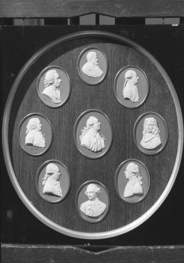 Wedgwood & Bentley (1768-1780). <em>Portrait Medallion of Sir Joseph Banks</em>. White on blue jasperware Brooklyn Museum, Gift of Emily Winthrop Miles, 59.202.17g. Creative Commons-BY (Photo: , 59.202.17a-i_acetate_bw.jpg)
