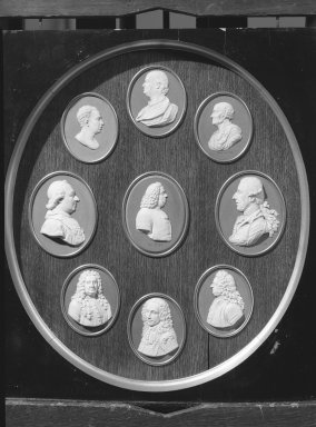 Wedgwood & Bentley (1768-1780). <em>Oval Portrait Medallion</em>. White on blue jasperware Brooklyn Museum, Gift of Emily Winthrop Miles, 59.202.20i. Creative Commons-BY (Photo: , 59.202.20a-i_view1_acetate_bw.jpg)
