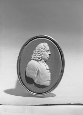Wedgwood & Bentley (1768-1780). <em>Oval Portrait Medallion</em>. White on blue jasperware Brooklyn Museum, Gift of Emily Winthrop Miles, 59.202.20e. Creative Commons-BY (Photo: Brooklyn Museum, 59.202.20e_acetate_bw.jpg)