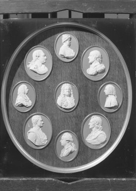 Wedgwood & Bentley (1768-1780). <em>Oval Portrait Medallion</em>. White on blue jasperware Brooklyn Museum, Gift of Emily Winthrop Miles, 59.202.21i. Creative Commons-BY (Photo: , 59.202.21a-i_view1_acetate_bw.jpg)