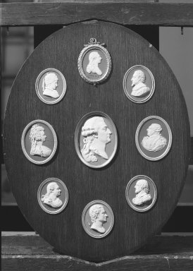 Josiah Wedgwood & Sons Ltd. (founded 1759). <em>Oval Portrait Medallion</em>, late eighteenth century. White on blue jasperware (stoneware) Brooklyn Museum, Gift of Emily Winthrop Miles, 59.202.22i. Creative Commons-BY (Photo: , 59.202.22a-i_acetate_bw.jpg)