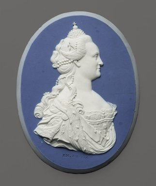 Wedgwood & Bentley (1768-1780). <em>Portrait Medallion of Empress Catherine II of Russia</em>, ca.1775. White on blue jasperware, 4 7/8 x 3 1/2 in. (12.4 x 8.9 cm). Brooklyn Museum, Gift of Emily Winthrop Miles, 59.202.6. Creative Commons-BY (Photo: Brooklyn Museum, 59.202.6_PS2.jpg)