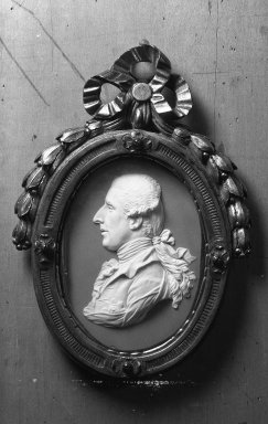 Josiah Wedgwood & Sons Ltd. (founded 1759). <em>Portrait Medallion of Sir William Hamilton</em>, ca. 1779. White on lilac jasperware (stoneware) Brooklyn Museum, Gift of Emily Winthrop Miles, 59.202.8. Creative Commons-BY (Photo: Brooklyn Museum, 59.202.8_acetate_bw.jpg)