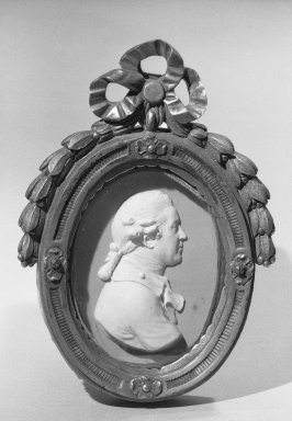 Josiah Wedgwood & Sons Ltd. (founded 1759). <em>Portrait Medallion of Sir Joshua Reynolds, English Painter</em>. White on pink jasperware Brooklyn Museum, Gift of Emily Winthrop Miles, 59.202.9. Creative Commons-BY (Photo: Brooklyn Museum, 59.202.9_acetate_bw.jpg)
