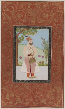 Indian. <em>Iraj Khan</em>, 1875-1900. Opaque watercolor and gold on paper, sheet: 19 5/8 x 11 13/16 in.  (49.8 x 30.0 cm). Brooklyn Museum, Gift of James S. Hays, 59.205.13 (Photo: Brooklyn Museum, 59.205.13_IMLS_PS3.jpg)