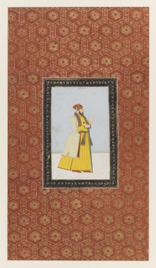 Indian. <em>Qamar al-Din Khan</em>, 1875-1900. Opaque watercolor and gold on paper, sheet: 19 5/8 x 11 13/16 in.  (49.8 x 30.0 cm). Brooklyn Museum, Gift of James S. Hays, 59.205.14 (Photo: Brooklyn Museum, 59.205.14_IMLS_PS3.jpg)
