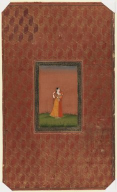 Indian. <em>Standing Woman</em>, 1875-1900. Opaque watercolor and gold on paper, sheet: 19 11/16 x 11 3/4 in.  (50 x 29.8 cm). Brooklyn Museum, Gift of James S. Hays, 59.205.15 (Photo: Brooklyn Museum, 59.205.15_IMLS_PS3.jpg)