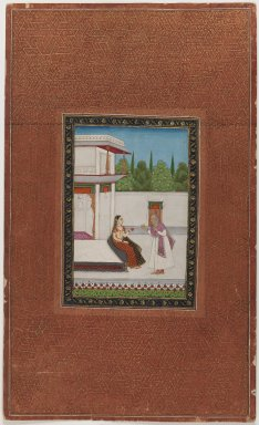 Indian. <em>A Lady and her Elderly Servant</em>, 1875-1900. Opaque watercolor on paper, sheet: 19 3/4 x 11 7/8 in.  (50.2 x 30.2 cm). Brooklyn Museum, Gift of James S. Hays, 59.205.18 (Photo: Brooklyn Museum, 59.205.18_IMLS_PS3.jpg)