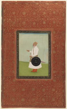 Indian. <em>Ruh Allah Khan</em>, 1875-1900. Opaque watercolor and gold on paper, sheet: 19 5/8 x 11 7/8 in.  (49.8 x 30.2 cm). Brooklyn Museum, Gift of James S. Hays, 59.205.1 (Photo: Brooklyn Museum, 59.205.1_IMLS_PS3.jpg)