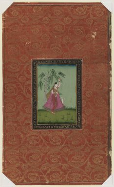 Indian. <em>Girl with a Deer (Todi Ragini ?)</em>, 1875-1900. Opaque watercolor and gold on paper, sheet: 19 11/16 x 11 3/4 in.  (50.0 x 29.8 cm). Brooklyn Museum, Gift of James S. Hays, 59.205.4 (Photo: Brooklyn Museum, 59.205.4_IMLS_PS3.jpg)