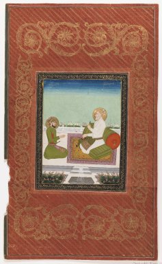 Indian. <em>Shahzadeh A'zam and Shahzadeh Bidarbakht</em>, 1875-1900. Opaque watercolor and gold on paper, sheet: 19 5/8 x 11 7/8 in.  (49.8 x 30.2 cm). Brooklyn Museum, Gift of James S. Hays, 59.205.5 (Photo: Brooklyn Museum, 59.205.5_IMLS_PS3.jpg)