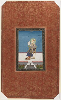 Indian. <em>Shah Jahan with a Falcon</em>, 1875-1900. Opaque watercolor and gold on paper, sheet: 19 3/4 x 11 7/8 in.  (50.2 x 30.2 cm). Brooklyn Museum, Gift of James S. Hays, 59.205.7 (Photo: Brooklyn Museum, 59.205.7_IMLS_PS3.jpg)