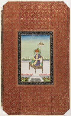 Indian. <em>Umar Shaykh Mirza</em>, 1875-1900. Opaque watercolor and gold on paper, sheet: 19 5/8 x 11 13/16 in.  (49.8 x 30.0 cm). Brooklyn Museum, Gift of James S. Hays, 59.205.9 (Photo: Brooklyn Museum, 59.205.9_IMLS_PS3.jpg)