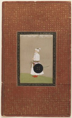 Indian. <em>Muhammad Amin Khan Turani</em>, 1875-1900. Opaque watercolor and gold on paper, sheet: 19 11/16 x 11 13/16 in.  (50.0 x 30.0 cm). Brooklyn Museum, Gift of Philip P. Weisberg, 59.206.3 (Photo: Brooklyn Museum, 59.206.3_IMLS_PS3.jpg)