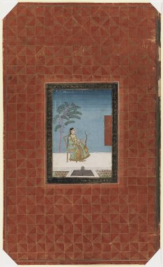 Indian. <em>A Lady Archer</em>, 1875-1900. Opaque watercolor and gold on paper, sheet: 19 3/4 x 11 3/4 in.  (50.2 x 29.8 cm). Brooklyn Museum, Gift of Philip P. Weisberg, 59.206.6 (Photo: Brooklyn Museum, 59.206.6_IMLS_PS3.jpg)
