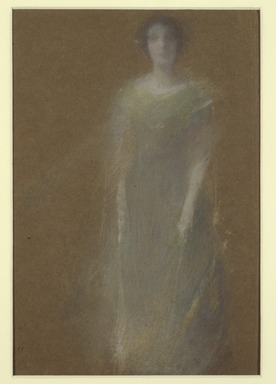 Thomas Wilmer Dewing (American, 1851-1938). <em>Unknown Woman</em>, ca. 1890. Pastel on brown wove paper, mounted overall to pulpboard, 10 7/16 x 7 1/16 in. (26.5 x 17.9 cm). Brooklyn Museum, Dick S. Ramsay Fund, 59.208 (Photo: , 59.208_SL3.jpg)