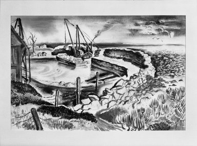 Georges Schreiber (American, 1904-1977). <em>Rockport Landscape</em>, 1937. Watercolor Brooklyn Museum, Gift of Mrs. Benjamin Pepper, 59.234. © artist or artist's estate (Photo: Brooklyn Museum, 59.234_acetate_bw.jpg)