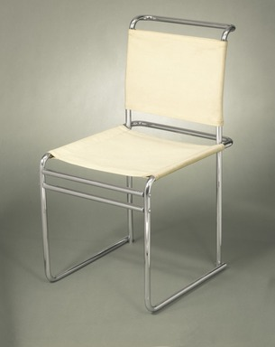Marcel Breuer (American, born Hungary, 1902-1981). <em>Side Chair, Model B5</em>, ca. 1926. Chromium plated tubular steel, white canvas Brooklyn Museum, Gift of Mr. and Mrs. Alexis Zalstem-Zalessky, 59.236.2. Creative Commons-BY (Photo: Brooklyn Museum, 59.236.2_colorcorrected_SL1.jpg)