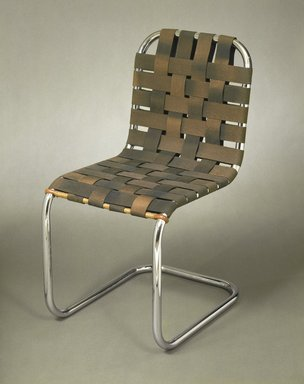 <em>Side Chair</em>, mid 1930s. Chromium plated tubular steel, canvas, 32 x 16 x 21 in. (81.3 x 40.6 x 53.3 cm). Brooklyn Museum, Gift of Mr. and Mrs. Alexis Zalstem-Zalessky, 59.236.3. Creative Commons-BY (Photo: Brooklyn Museum, 59.236.3_reference_SL1.jpg)